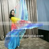 Wuchieal unique three color bellydance isis wings for performance, yellow red blue isis Belly Dance wings (DJ1013)