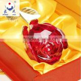 Vivid Red Crystal Glass Rose for Decorations and Gift ZWM031