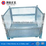 Heavy duty four way entry galvanized wire mesh container stackable wire mesh pallet cages for storage