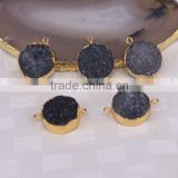 Black Druzy Quartz Stone Connector Beads, Round shape Gold plated Crystal Drusy Beads For Jewelry Making