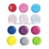 wholesale 2400 x boutique partyware 9 inch/23cm Round Quality paper party plates Polka Dot Blue Pink Red in 12 colors, Free Ship