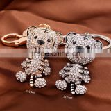 Cute Lovely Fashion Bear Animal Diamond Crystal Rhinestone GCrystal Keychain Charm Pendent for Women Handbag Purse Bag Keyrings