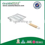 BBQ netting with wooden handle /3 fish bbq net