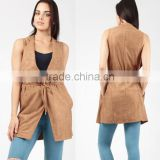 Designer Sleeveless Jackets Trendy Suedette Roll Neck High Waist Sleeveless Jacket Ladies For Outdoor Casual Wear
