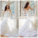 sleeveless design chiffon beaded wedding dress with long tail