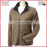 Apparel women hiking micro fleece jacket elastic binding zip up brown heavy fleece