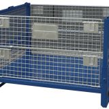 Steel Rolling Metal Storage Cage / Pallet Folded Container