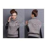 Sleeveless Chunky Womens Cable Knit Sweaters Pullover with Turn-Down Collar Drop Shoulder