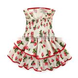 Stylish in cooler weather japanese strawberry dresses baby girls summer dress elastic back