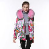 Chinese style print sweetness and freshness women wind coats pink raccoon fur hooded jacket spring garment