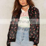 Oversized Black Satin Rose Print Bomber Jacket