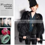 women Clothing Black Champagne Long Hair Goat Fur Coats vest jacket