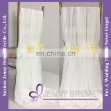 C454A flower decoration white chiffon rose chair sashes chair cover wedding