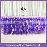 TS017-PUR organza table skirt materials in different designs of table skirting