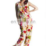 new arrival fashion jumpsuit turkish ladies jump suit night wear floral style printed 2016
