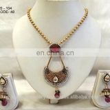 Goldplated necklace jewelry set manufacturer,antique gold-plated necklace jewellery sets exporter