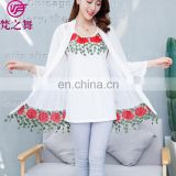 Two-piece fashion embroidery designed lady tank top and cardigan set