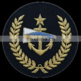 Marine Embroidered Patch | Yacht Club Gold Embroidered Patch | Star with Anchor Round Patch
