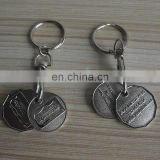 antique silver double sides 3D custom design metal color Canada shopping cart trolley coin key chain