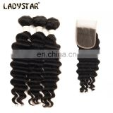 LADYSTAR Brazilian Hair Unprocessed Premium 100% Human Hair 3pc Brazilian Deep Virgin Hair With 4*4 Closure Products