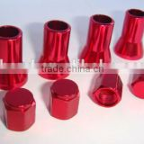 Red Color ALuminum Tire Valve Stem SLeeves And Hex Caps