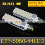 1Pcs 11W SMD 5050 E27 LED lamp AC 110V - 220V Horizontal Plug light, 44LEDs, Aluminum Body LED corn bulb 5050SMD Chandelier