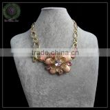 pink flower choker charm necklace
