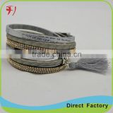New Arrival Men's Jewelry Retro Alloy Buckle Braided Genuine Leather Bracelet Bangle