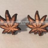 Good quality Wood 420 leaf stud earrings, weed/marijuana leaf, wood, surgical steel