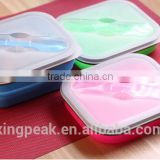 2016 Hot Sale Collapsible food grade silicone container/foldable silicone Bento box with lid/BPA free Lunch box for child