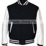 Varsity/Letterman/College Jacket Black/White all made of Melton Wool with Quilting Lining