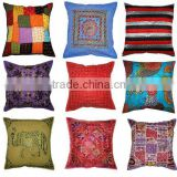 Handmade Patchwork Throw Pillow Cover Indian Embroidered Cushion Cover