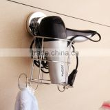 Wall mounted chrome wire hair dryer stand with hook