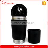 Black Coating Stainless Steel Vaccum Protein Shaker Bottle with 200ML Storage for Nutrition Powder                                                                         Quality Choice