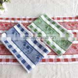 100%cotton fabric jacquard tea towel dairy cow dobby hooked kitchen towel China supplier wholesaler