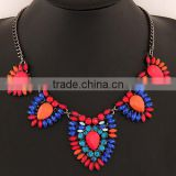Alibaba China Jewelry Best Selling Bright and Exquisite Resin bead and Crystal Alloy Teardrop statement chain Necklace