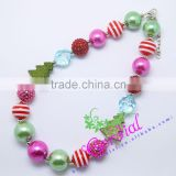 High Quality Fashion Kids Costume Jewelry Handmade Acrylic Bead DIY Pearl Green Christmas Tree Necklaces Jewelry