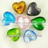 Handmade Silver Foil Glass Lampwork Beads, Vintage Beads, Jewelry Discount, Murano Heart Beads(SLH12MMY-1)