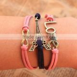 d95951t European fashion love multilayer weave laides leather bracelet simple fashion accessories wholesale