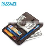 Men Vintage Real Leather Money Clip Brown ID Holder Front Pocket Slim Wallet