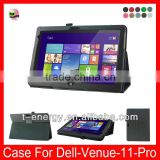 Free Shipping,Flip Leather Cover Case For Dell Venue 11 Pro(Fit 5130 model) Leather Case(2014 Model),Black