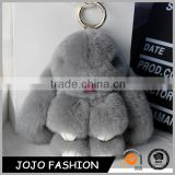 Fashion Design Factory Wholesale Rabbit Fur Plush Keychain Pom Pom Keychain With Silver Plated Key Holder