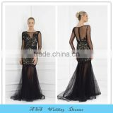 2015 Latest vestido de festa Longo Black Evening Dress Sheer Skirt Long Sleeve Sexy Applique Party Dresses Gowns Plus Size