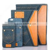 Jeans leather flip stand PU leather case for iphone, leather case for ipad