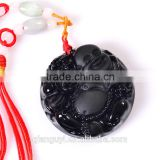 Fashion unisex natural stone pendant black obsidian buddha or kwanyin pendant necklace wholesale black carved buddha obsidian