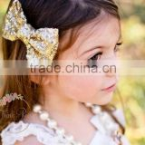 xmas bow tie clip hair accessory set of Glitter Hair Clips-gold hair bow Toddler Hair Clip-Sparkling Hair Bow