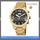 Mens Gold Watch Calendar Quartz Wrist Watch Stainless Steel 5ATM Water Resistant
