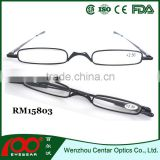 2015 Small frame reading glasses with metal case;Wholesale reading glasses;Slim Metal reading glasses with pen box