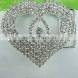 Factory Direct Wholesales Fashion Love-shaped Decorative Crystal Rhinestone Buckle for Coat Belt in Bulk
