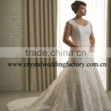 Lace beaded cap sleeve appliqued mermaid xl xxl xxl xxl custom-made plus size wedding dress CWFaw4730